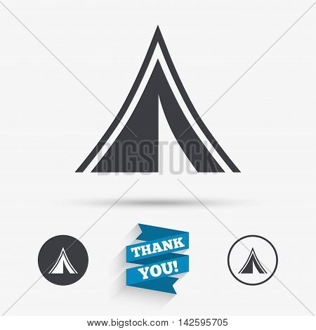 Tourist tent sign icon. Camping symbol. Flat icons. Buttons with icons. Thank you ribbon. Vector