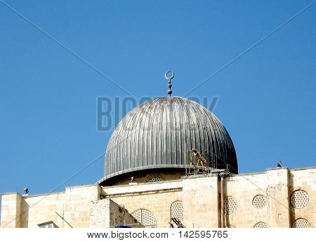 Cupola of Al-Aqsa Mosque in Jerusalem in Israel