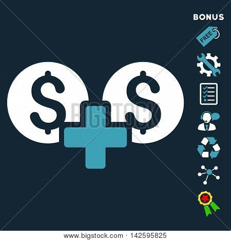 Financial Sum icon with bonus pictograms. Vector illustration style is flat iconic bicolor symbols, blue and white colors, dark blue background, rounded angles.