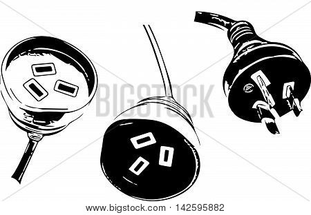 Australian power plug and socket stylized illustration in black and white