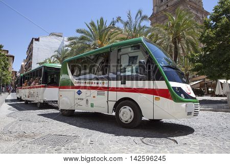 Granada Spain - August 8 2016: Granada City Tour with the shuttle along the Old town