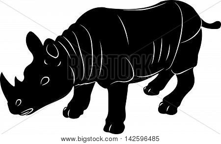 Rhino vector stylized illustration icon black silhouette