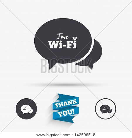 Chat speech bubbles. Free wifi sign. Wifi symbol. Wireless Network icon. Wifi zone. Flat icons. Buttons with icons. Thank you ribbon. Vector