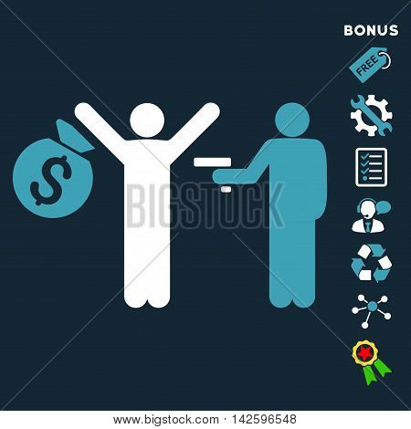 Thief Arrest icon with bonus pictograms. Vector illustration style is flat iconic bicolor symbols, blue and white colors, dark blue background, rounded angles.