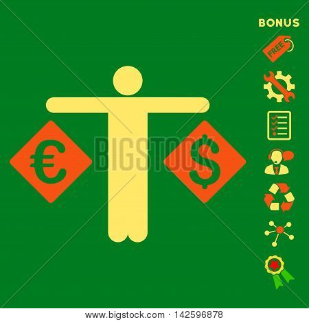 Currency Trader icon with bonus pictograms. Vector illustration style is flat iconic bicolor symbols, orange and yellow colors, green background, rounded angles.