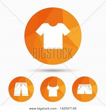 Clothes icons. T-shirt and bermuda shorts signs. Swimming trunks symbol. Triangular low poly buttons with shadow. Vector
