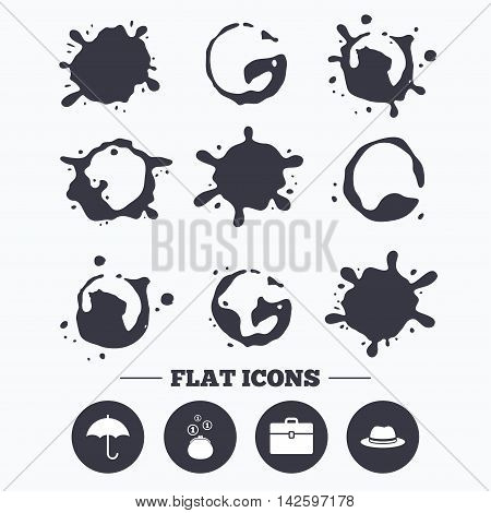 Paint, coffee or milk splash blots. Clothing accessories icons. Umbrella and headdress hat signs. Wallet with cash coins, business case symbols. Smudges splashes drops. Vector