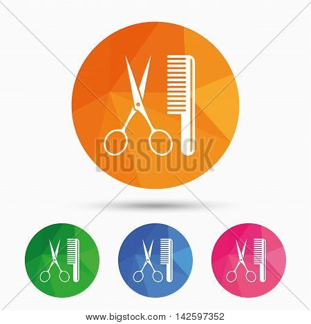 Comb hair with scissors sign icon. Barber symbol. Triangular low poly button with flat icon. Vector