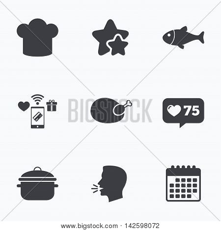 Chief hat and cooking pan icons. Fish and chicken signs. Boil or stew food symbol. Flat talking head, calendar icons. Stars, like counter icons. Vector
