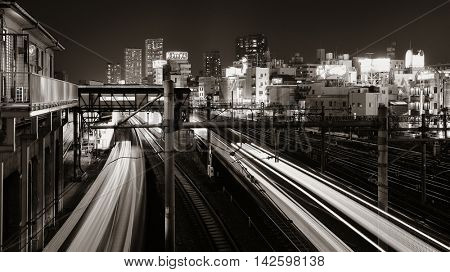 TOKYO, JAPAN - MAY 15: Train in in station at night on May 15, 2013 in Tokyo. Tokyo is the capital of Japan and the most populous metropolitan area in the world