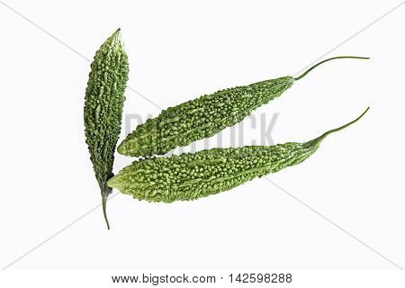 Bitter Gourd vegetable on a white background