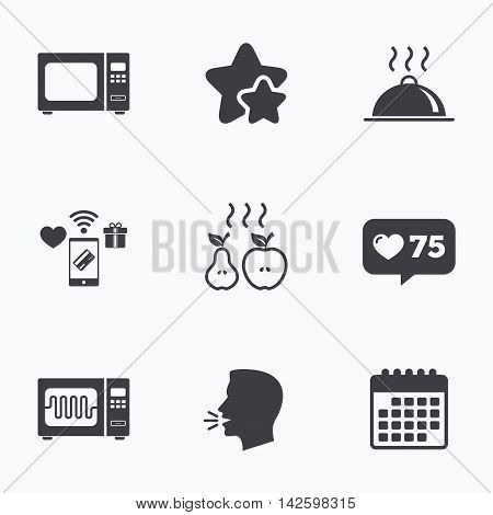 Microwave grill oven icons. Cooking apple and pear signs. Food platter serving symbol. Flat talking head, calendar icons. Stars, like counter icons. Vector