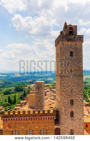 Aerial View Of San Gimignano, Tuscany, Italy