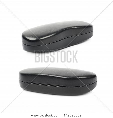 Black leather protection case box for glasses isolated over the white background, set of two different foreshortenings