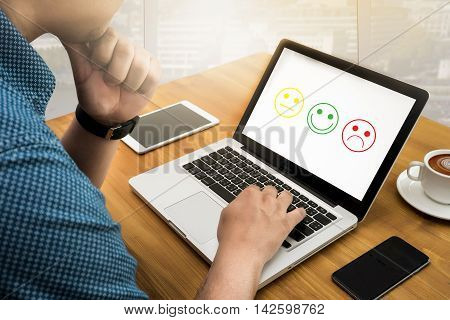Business Man Select Happy On Satisfaction Evaluation?