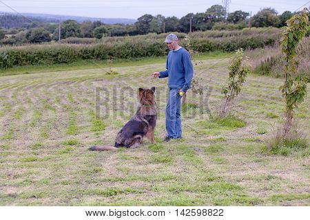 Man Training His Dog Outside With A Toy