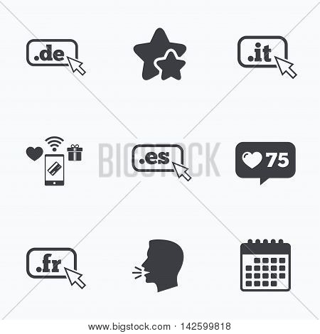 Top-level internet domain icons. De, It, Es and Fr symbols with cursor pointer. Unique national DNS names. Flat talking head, calendar icons. Stars, like counter icons. Vector