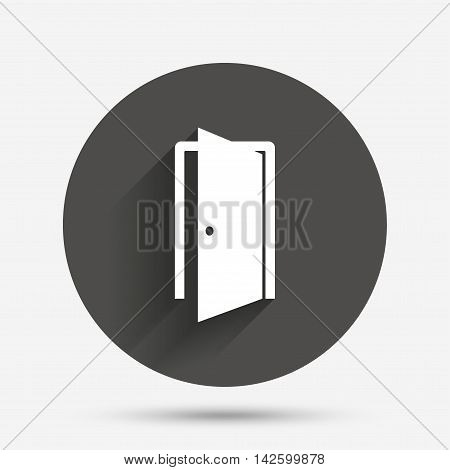 Door sign icon. Enter or exit symbol. Internal door. Circle flat button with shadow. Vector