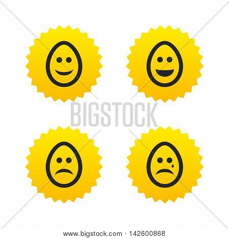 Eggs happy and sad faces icons. Crying smiley with tear symbols. Tradition Easter Pasch signs. Yellow stars labels with flat icons. Vector