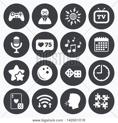 Calendar, wifi and clock symbols. Like counter, stars symbols. Entertainment icons. Game, bowling and puzzle signs. Casino, carnival and musical note symbols. Talking head, go to web symbols. Vector