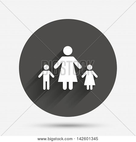 One-parent family with two children sign icon. Mother with son and daughter symbol. Circle flat button with shadow. Vector