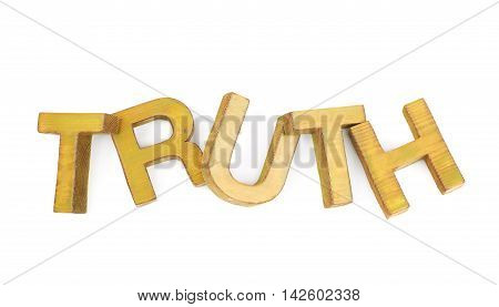 Word Truth made of colored with paint wooden letters, composition isolated over the white background