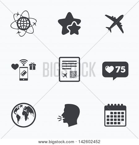 Airplane icons. World globe symbol. Boarding pass flight sign. Airport ticket with QR code. Flat talking head, calendar icons. Stars, like counter icons. Vector