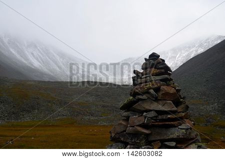 A Stone Pyramid Built High In The Sayan Mountains.