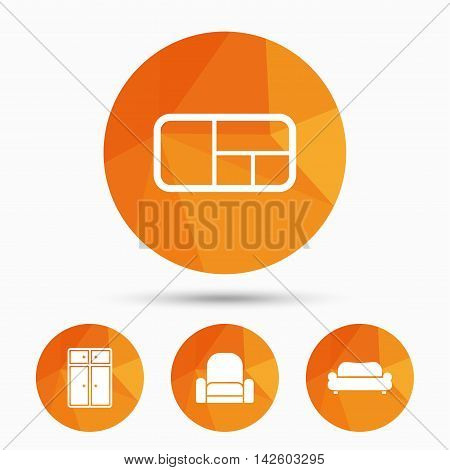 Furniture icons. Sofa, cupboard, and book shelf signs. Modern armchair symbol. Triangular low poly buttons with shadow. Vector