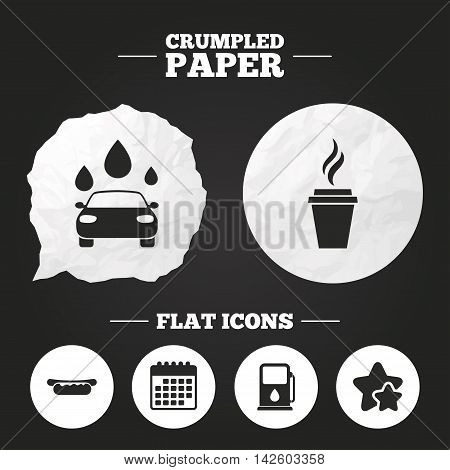 Crumpled paper speech bubble. Petrol or Gas station services icons. Automated car wash signs. Hotdog sandwich and hot coffee cup symbols. Paper button. Vector