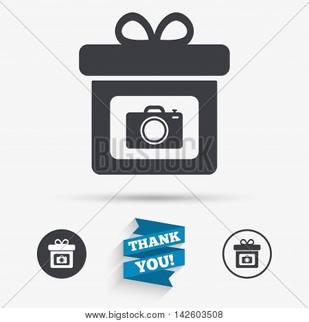 Gift box sign icon. Present with photo camera symbol. Flat icons. Buttons with icons. Thank you ribbon. Vector