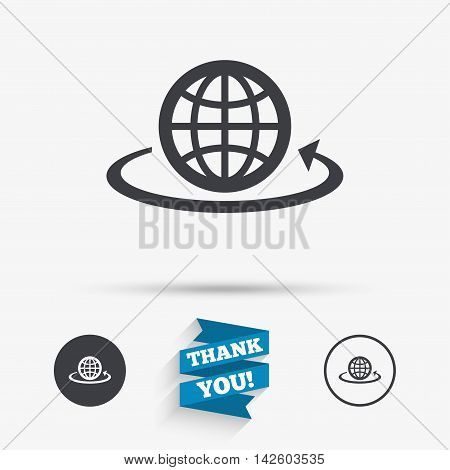 Globe sign icon. Round the world arrow symbol. Full rotation. Flat icons. Buttons with icons. Thank you ribbon. Vector