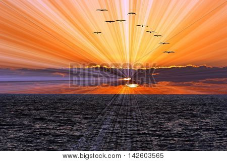 Sunset birds is a colorful vibrant ocean scenic with sun rays beaming out from the clouds and setting sun.