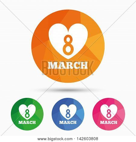 8 March Women's Day sign icon. Heart symbol. Triangular low poly button with flat icon. Vector