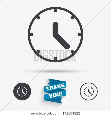 Clock sign icon. Mechanical clock symbol. Flat icons. Buttons with icons. Thank you ribbon. Vector