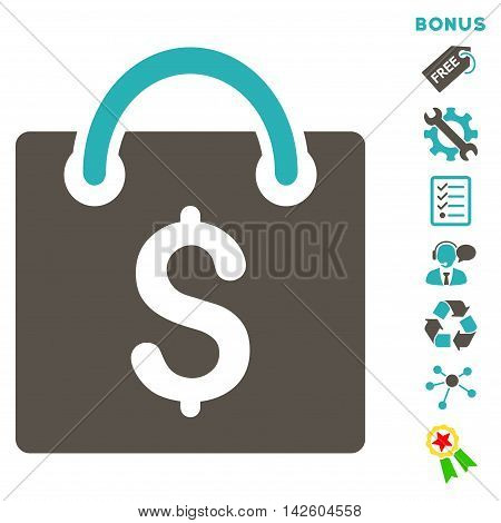 Shopping Bag icon with bonus pictograms. Vector illustration style is flat iconic bicolor symbols, grey and cyan colors, white background, rounded angles.