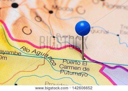 Puerto El Carmen de Putumayo pinned on a map of Ecuador
