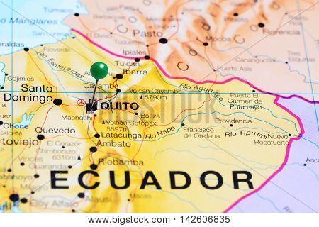 Quito pinned on a map of Ecuador