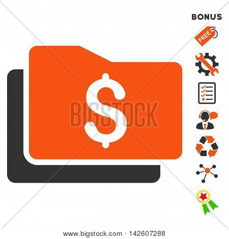 Wallet icon with bonus pictograms. Vector illustration style is flat iconic bicolor symbols, orange and gray colors, white background, rounded angles.
