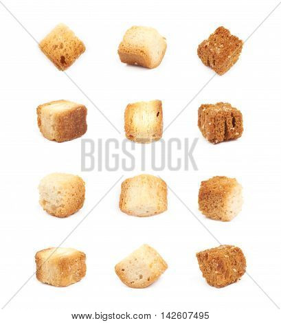 Single white bread garlic crouton isolated over the white background, set of twelve different foreshortenings
