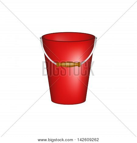 Bucket in red design on white background