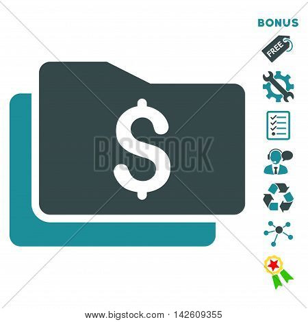 Wallet icon with bonus pictograms. Vector illustration style is flat iconic bicolor symbols, soft blue colors, white background, rounded angles.