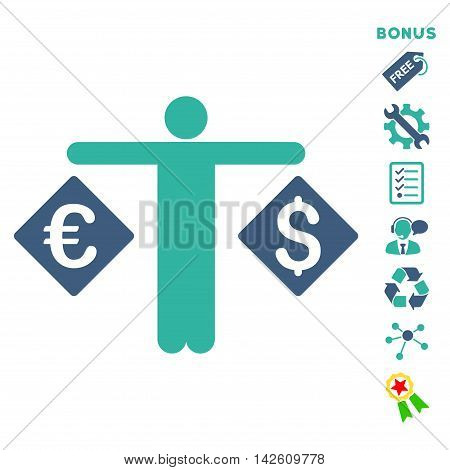 Currency Trader icon with bonus pictograms. Vector illustration style is flat iconic bicolor symbols, cobalt and cyan colors, white background, rounded angles.
