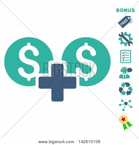 Financial Sum icon with bonus pictograms. Vector illustration style is flat iconic bicolor symbols, cobalt and cyan colors, white background, rounded angles.