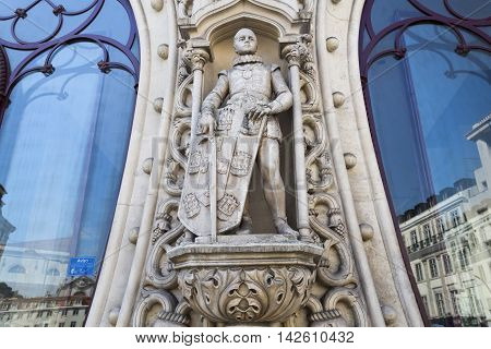 LISBON, PORTUGAL - September 25, 2015: Statue of young Dom Sebastiao King of Portugal. The statue was totally destroyed in May 2016 by a vandal when trying to take a selfie. On September 25, 2015 in Lisbon, Portugal
