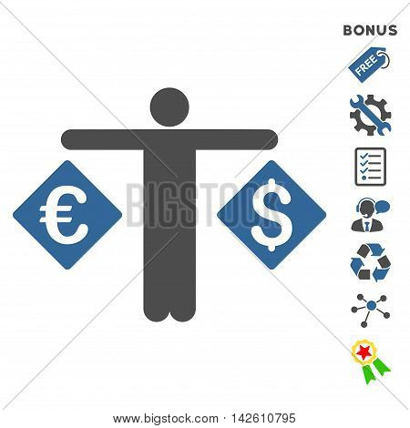 Currency Trader icon with bonus pictograms. Vector illustration style is flat iconic bicolor symbols, cobalt and gray colors, white background, rounded angles.