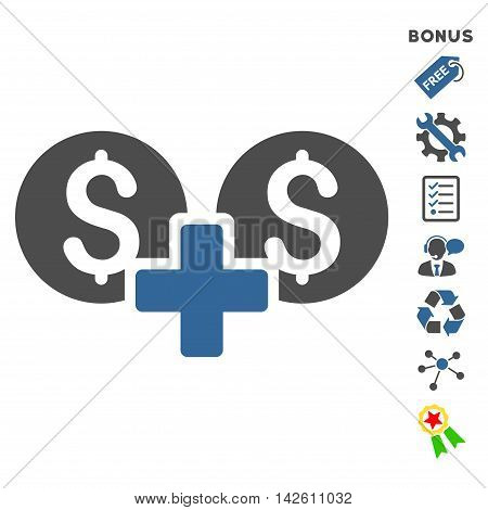 Financial Sum icon with bonus pictograms. Vector illustration style is flat iconic bicolor symbols, cobalt and gray colors, white background, rounded angles.