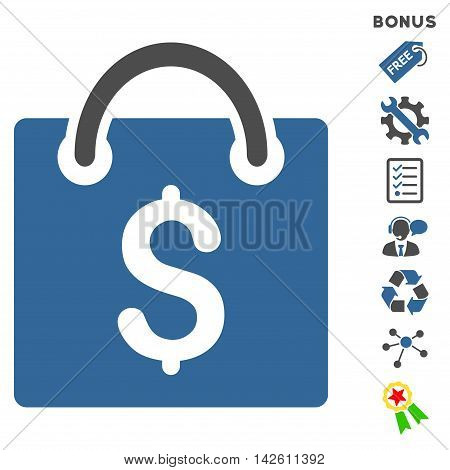 Shopping Bag icon with bonus pictograms. Vector illustration style is flat iconic bicolor symbols, cobalt and gray colors, white background, rounded angles.