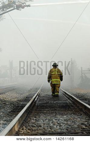 Firefighter Walking Rails