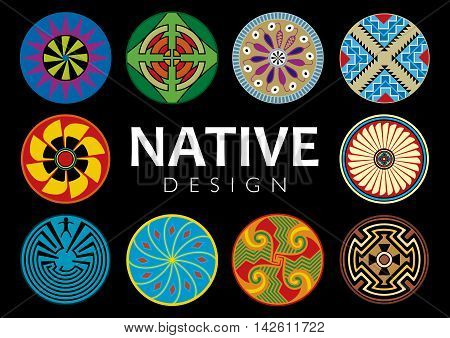 Collection of 10 native designs  on black background